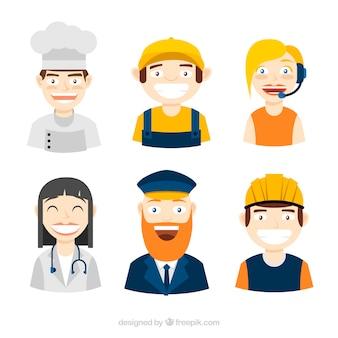 Smiley lavoratori avatars con disegno piatto