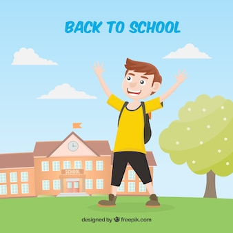 Smiley ragazzo che festeggia quella scuola è tornato
