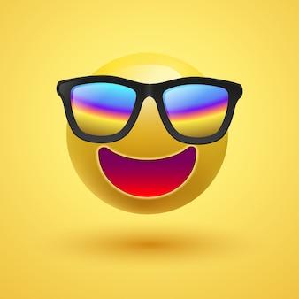 Smiley sveglio giallo 3d con gli occhiali da sole su fondo giallo, illustrazione.