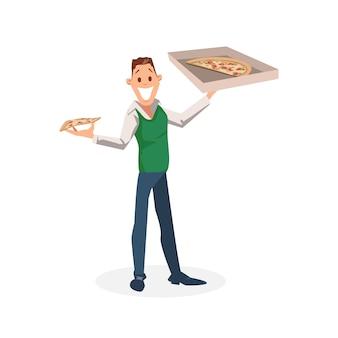 Smiling office worker stand con scatola di pizza di cartone