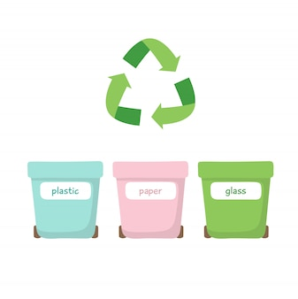 Smistamento dei rifiuti - illustrazione con tre diversi cassonetti dell'immondizia - per plastica, carta e vetro.