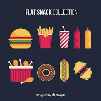 Snack impostato in stile piatto
