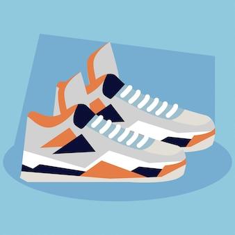 Sneaker, scarpe da basket su sfondo blu