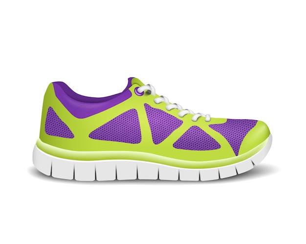 Sneaker sportive realistiche e luminose per la corsa.