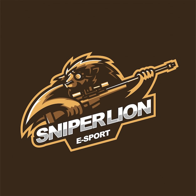 Sniper lion e-sport mascotte logo modello di gioco