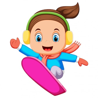 Snowboarder freerider jumping