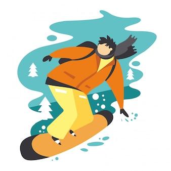 Snowboarder in stile piatto.