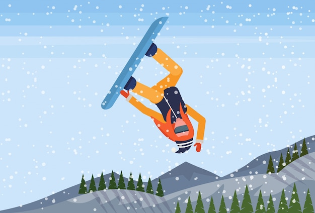 Snowboarder ragazza che salta