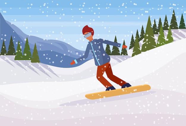 Snowboarder uomo scivolare giù per la montagna