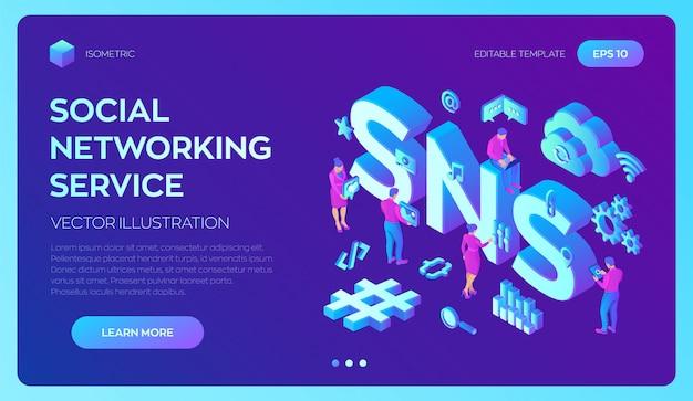 Sns. servizio di social network. 3d isometrico con icone e personaggi.