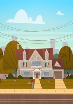 Sobborgo della costruzione della camera di grande città di estate, concetto sveglio della città del bene immobile del cottage