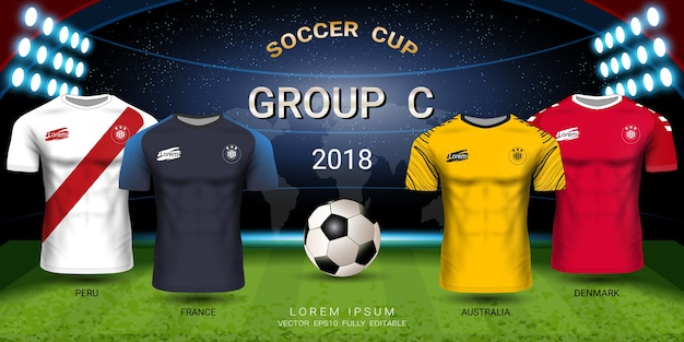 Soccer jersey football cup 2018 gruppo squadre c