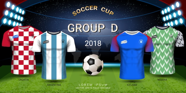 Soccer jersey football cup 2018 gruppo squadre d