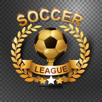 Soccer league trophy with gold laurel wreath