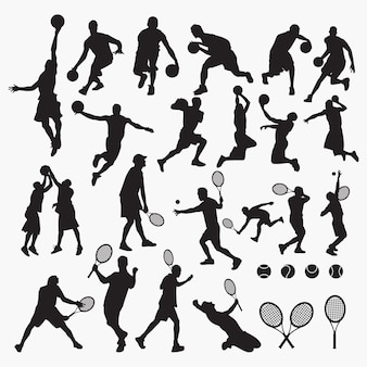 Soccer rugby silhouettes
