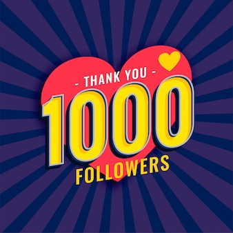Social media 1000 follower sullo sfondo