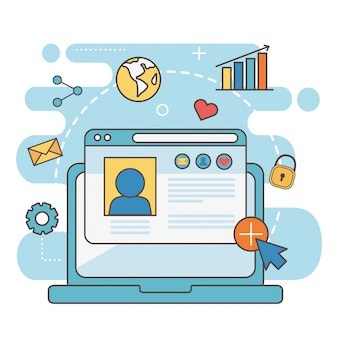 Social media della rete di posta elettronica del grafico del mondo del messaggio del sito web laptp