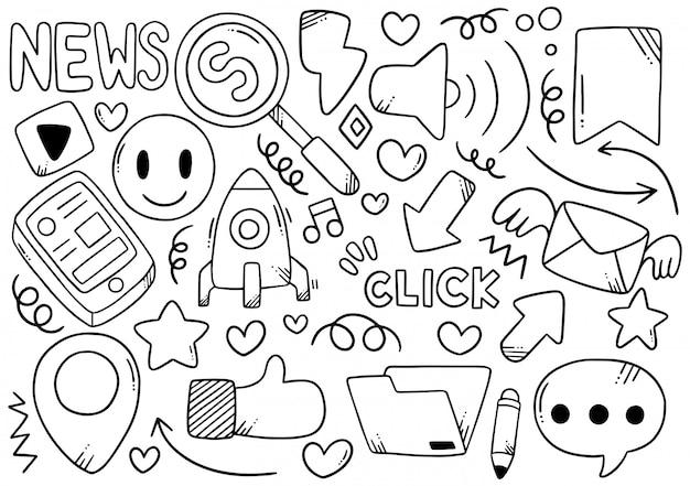 Social media disegnati a mano