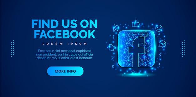 Social media facebook con sfondo blu.