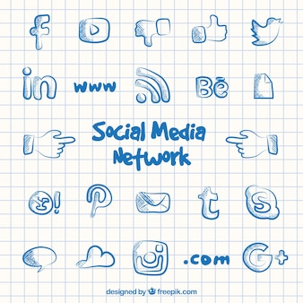 Social media icone di rete in stile doodle