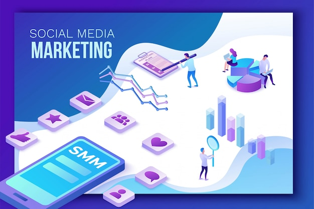 Social media marketing, 3d isometrico