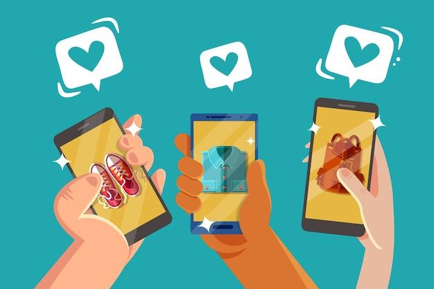 Social media marketing concetto di telefono cellulare