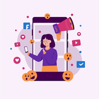 Social media marketing concetto di telefono cellulare