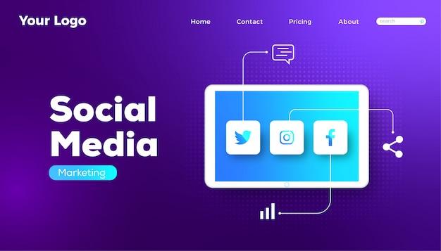 Social media marketing tecnologia banner web design