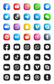 Social media modern ios set di icone 3d