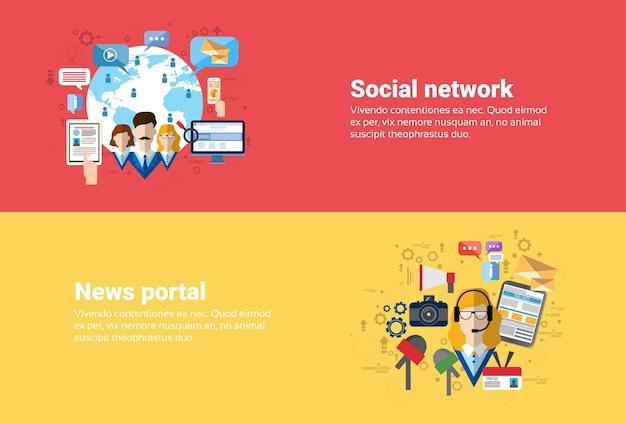 Social media network connessione internet comunicazione, news portal applicazione web banner flat vect