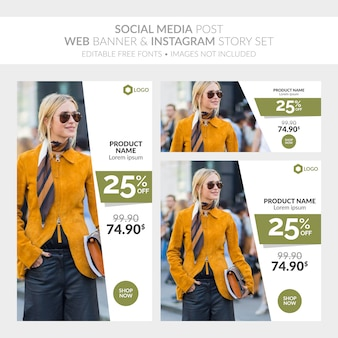 Social media post banner web e instagram story set