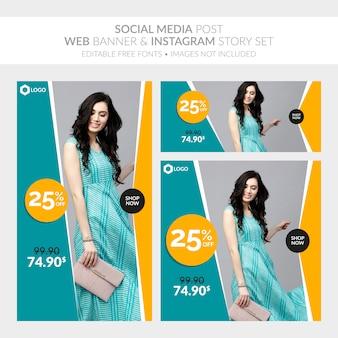 Social media post banner web e instagram story set
