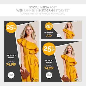 Social media post banner web e raccolta di storie di instagram