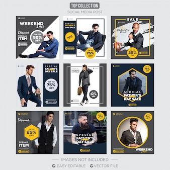 Social media post instagram template vendita di padri giorno