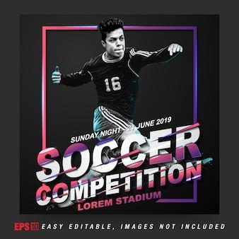 Social media post per la competizione di calcio