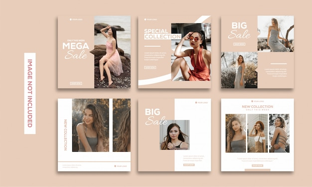 Social media post template collection instagram fashion beautiful