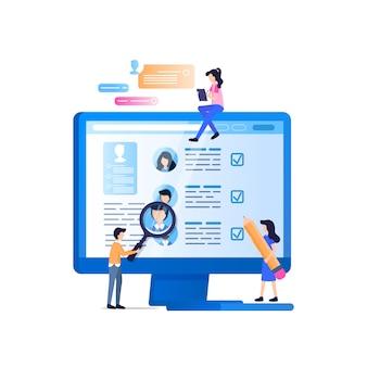 Social media recruit monitoring on laptop screen
