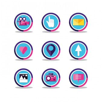 Social media set di icone
