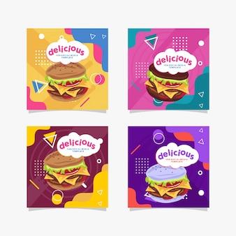 Social media template sfondo burger