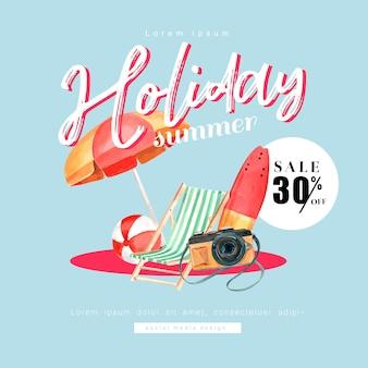 Social media viaggiare in vacanza estate in spiaggia
