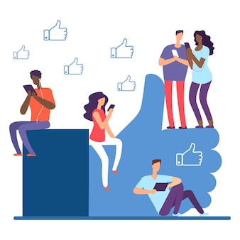 Social network e illustrazione di persone internazionali