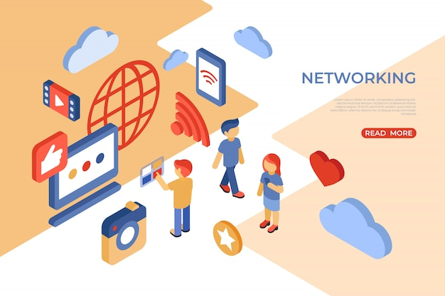 Social network e landing page isometrica su internet