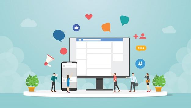 Social network o social media su app mobile per computer e smartphone con icona di persone e dispositivi con moderno stile piatto