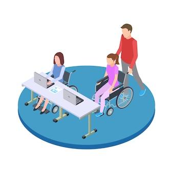 Socializzazione ed educazione delle persone con disabilità illustrazione di concetto di vettore isometrico