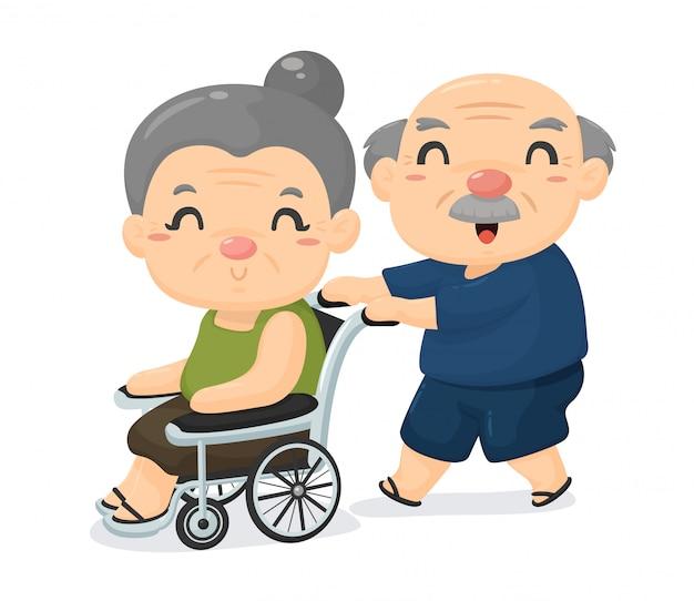 Società anziana cartoon, gli amanti della vecchiaia si prendono cura l'uno dell'altro quando sono malati.