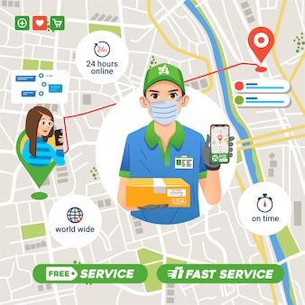 Società di servizi di consegna che invia il pacco al cliente in tempo, percorso della mappa nell'app a destinazione, garanzia di 24 ore