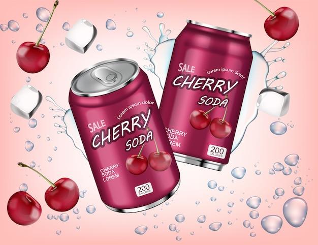 Soda di ciliegia con spruzzata di cubetti di ghiaccio