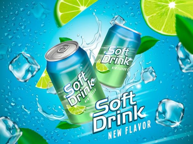 Soft drink contenuto in lattine metalliche con elementi limone e cubetto di ghiaccio, fondo azzurro