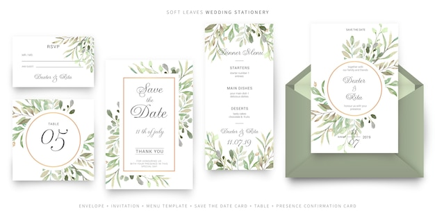 Soft leaves wedding stationery