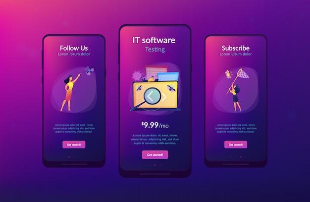 Software che lo prova modello di interfaccia dell'app